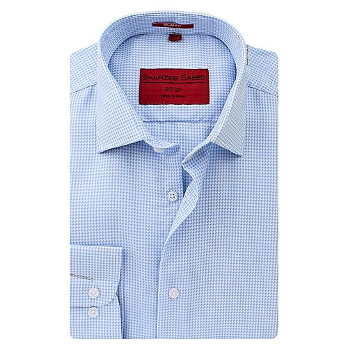 Shahzeb Saeed Sky Blue Cotton Shirt for Men Regular Fit SS064