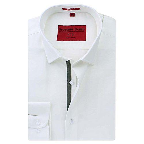 Shahzeb Saeed White Cotton Shirt for Men Regular Fit SS026