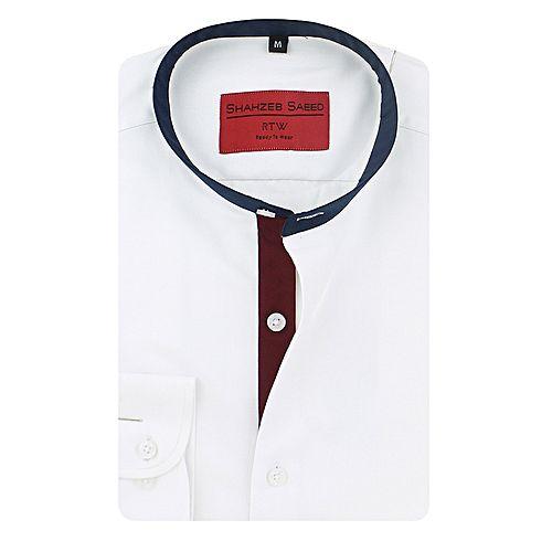 Shahzeb Saeed White Cotton Shirt for Men SS047