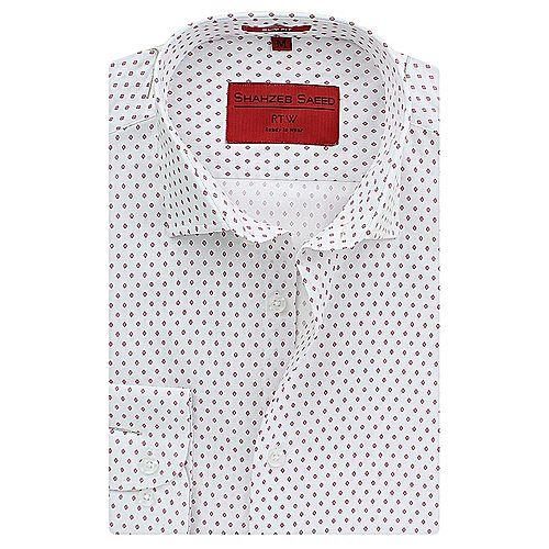 Shahzeb Saeed White & Pink Cotton Shirt for Men Regular Fit SS048