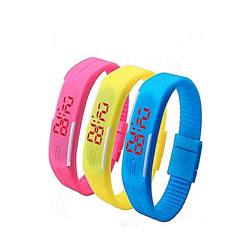 A&J Pack Of 3 - Led sports Watch - Pink, Yellow & Blue MW 25