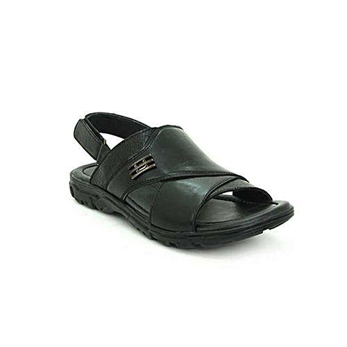 9cbb17d98063 Bata Summer Black PU Sandals For Men 8616552 BS093 - Menswear.pk