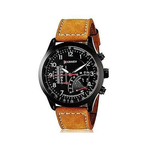 Curren Brown Leather Wrist Watch For Men - Brown MW 177 ...