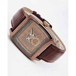 DIYE Men Fashion Watch - Brown Strap Skeleton Style MW 236