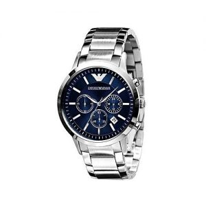 Emporio Armani Stainless Steel Black Sunray Dial Chronograph Watch For Men MW 258