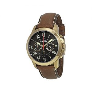 Fossil Black Dial Leather Chronograph Watch For Men-Fs5062 MW 311