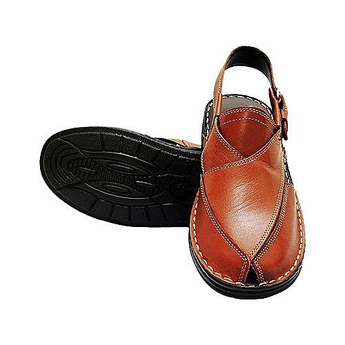 615d0c622209f K-OSS Rust - Leather Peshawari Sandal For Men MS 394 - Menswear.pk