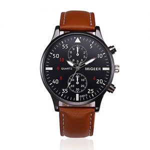 Koy Brown Alloy & PU Leather Chronograph Watch for Men MW 429