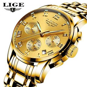LIGE Steel All Yellow Chronograph Wristwatch For Men MW 455