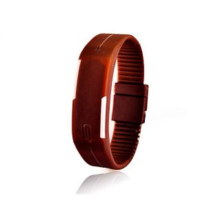 LushCollections Rubber LED Bracelet Digital Wrist Watch - brown MW 459