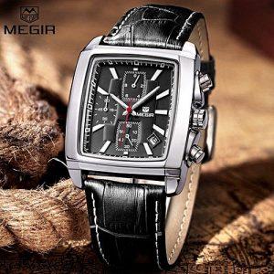 Megir Black Chronograph Wristwatch For Men MW 476