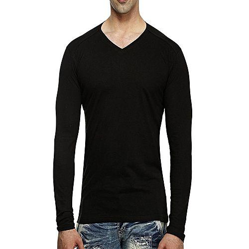 3165a0e0b0 Onshoponline Plain Black V-Neck Full Sleeves Cotton For Men T-Shirt OSO-