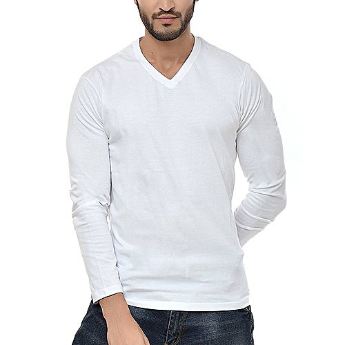 6362e894529 Onshoponline Plain White V-Neck Full Sleeves Cotton For Men T-Shirt OSO-