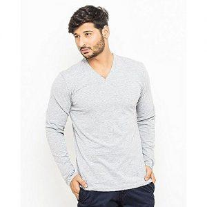 Royal Collection Pakistan Grey Plain Cotton T-Shirt for Men RCP 384