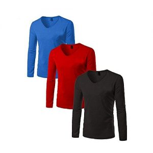Royal Collection Pakistan Pack of 3 Multicolor Full/Long Sleeves V-Neck Cotton T-Shirt for Men RCP 357