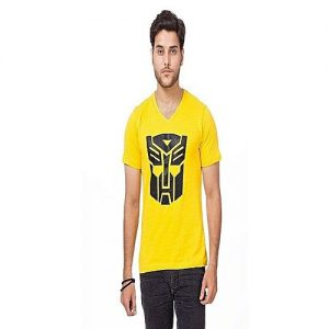 Royal Collection Pakistan Yellow Cotton Printed T-Shirt For Men RCP 297