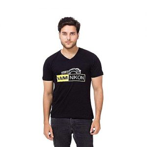 Styleo I am Nikon Printed V-Neck T-Shirt for Men S1804-252