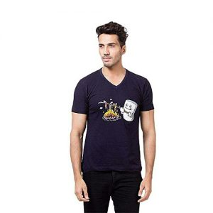 Styleo Navy Blue Printed V-neck T-Shirt For Men S1804-341