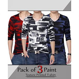 Styleo Pack of 3 -Multicolor Cotton Printed T-Shirts for Men S1804-222