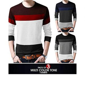 Styleo Pack Of 3 - Multicolour Cotton Round Neck T-Shirt For Men S1804-103