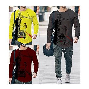 Styleo Pack Of 3 Round Neck Button Strip Long Sleeves T-Shirts For Men S1804-160