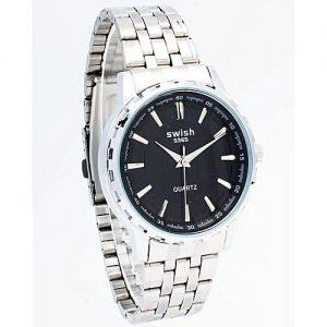 Swish Men Fashion Watch - Metal Watch - Silver and Black MW 849