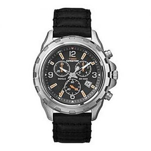 Timex Black Leather Expedition Chronograph Watch MW 863