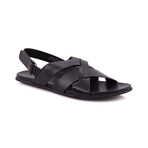 2bfbd27698e4 Unze London Mens LOGAN Crossover Layout Velcro Back Strap Leather Sandal  Black 80822