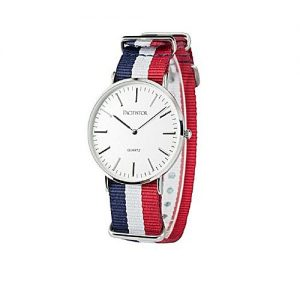 Wear Bank Red & Blue Nylon Striped Strap Watch For Men's MW 944