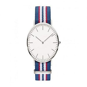 Wear Bank White & Blue Nylon Striped Strap Watch For Men's MW 957