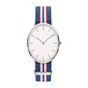 Wear Bank White & Blue Nylon Striped Strap Watch For Men's MW 957