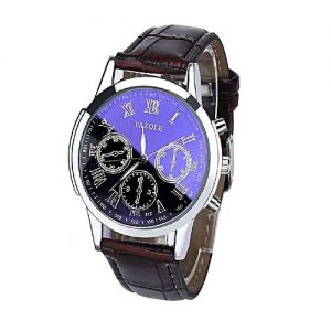 Yazole Stainless Steel Mens Chronograph Wrist Watch - Blue & Brown MW 988