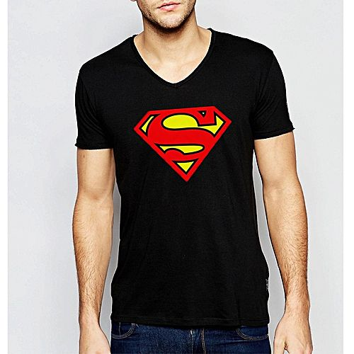 45d03a1fa39 Zewraat Black Cotton V-Neck Superman Printed T-Shirt for Men ZR376 ...