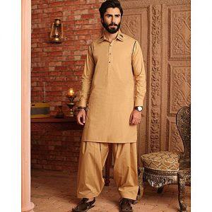 Bonanza Satrangi Dark Beige 100% Egyptian Cotton Unstitched Fabric For Men