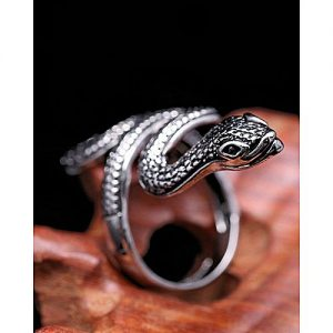 DIY COLLECTION Antique Silver Retro Big Snake Punk Biker Unique Ring MA 536