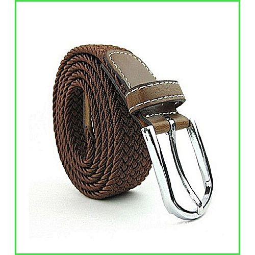 Glam Belts Brown - Leather Braided Cross Pin Buckle MA 153