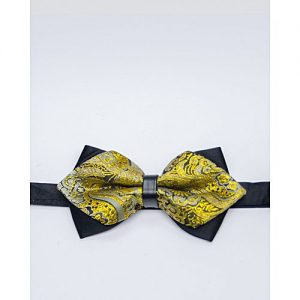 Glitz Executives Black And Gold Pointed Adjustable Bowtie MA 685