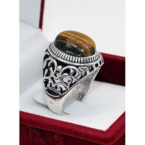 Jewelry Palace Silver Plated With Tiger Stone Ring MA 548