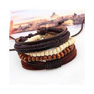 Leo Bohemia Handmade Multi-layer Leather Beads Bracelets MA 75