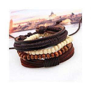 Leo Bohemia Handmade Multi-layer Leather Beads Bracelets MA 75