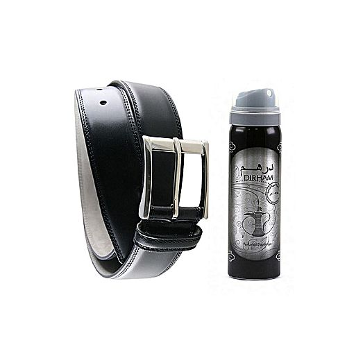 MAGS STORE Black - Leather Belt & Body Spray For Men MA 298