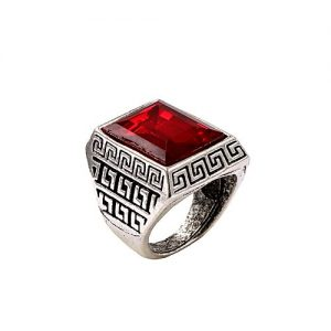 Naya Rung Silver With Red Stone Ring For Men MA 522