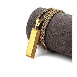 Riwayat Cube Brick Bar Necklace Pendant - Men - Golden MA 428
