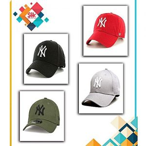 SIK Collection Pack of 4 - Green, Red, Grey & Black Cotton NY Baseball Adjustable Caps For Men MA 129