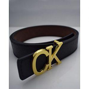 TapNCarry Black Leather Belt - Black - Casual Belt With Golden Buckle MA 170