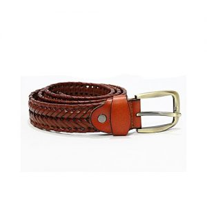 The Lacets Brown Genuine Leather Braided Belt For Men MA 143