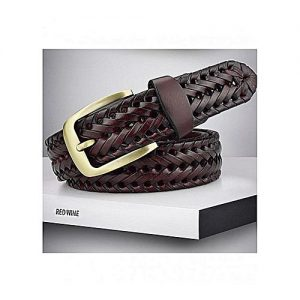 The Lacets Red Wine Genuine Leather Braided Belt For Men MA 138