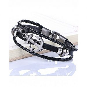 The Marshall Black Retro Leather & Alloy Woven Anchor Charm Bracelet - TM-MB-13 MA 95