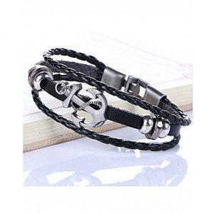 The Marshall Black Retro Leather & Alloy Woven Anchor Charm Bracelet - TM-MB-13 MA 95