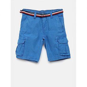 Aashi Blue Solid Regular Fit Cargo Shorts mw 337